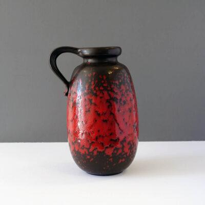 west-german-fat-lava-handled-jug-vase-decanter-pitcher-red-black