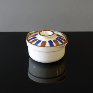 striped-lidded-bowl-blue-brown-white-porcelain