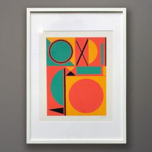 1970s A. Thessler Abstract Silkscreen Print framed