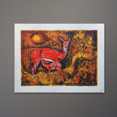 1970s-leeoda-deer-silkscreen-print-20x26