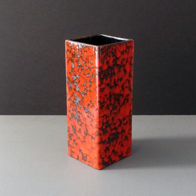 west-german-red-fat-lava-square-column-vase