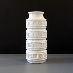 west-german-white-relief-cylinder-vase