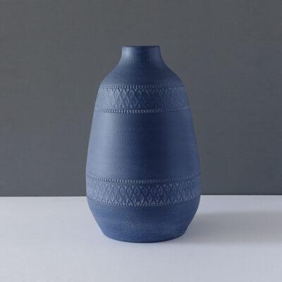 patterned-matte-blue-very-large-vase