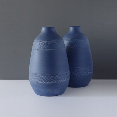 patterned-matte-blue-very-large-vase-pair