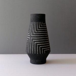 charcoal-gray-white-sgraffito-striped-vase