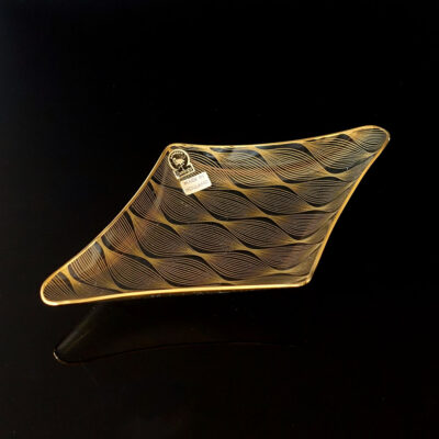 benelux-flamingo-gilt-bent-optical-art-glass-serving-dish