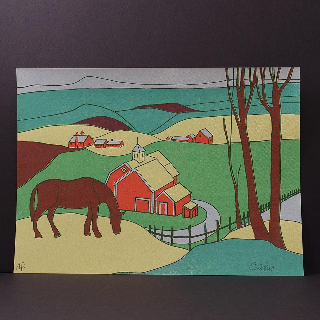 9 606 Midcentury Modern Horse Farm Silkscreen Print Reid