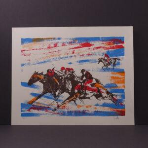 mid-century-modern-horse-race-silkscreen-print-santo-16x20