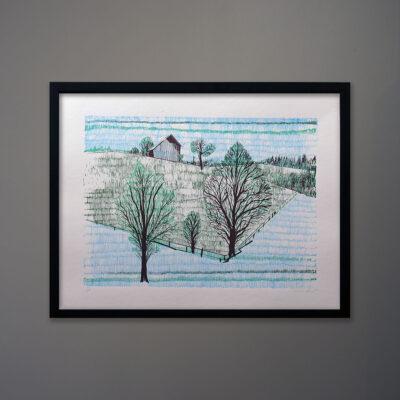 Mid-Century Landscape Silkscreen Print Brant-blk-frame
