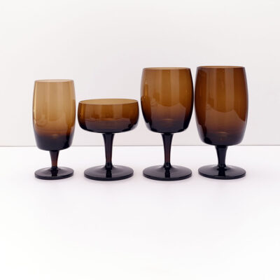 GORHAM-REIZART-blown-1960s-brown-german-stemware-1