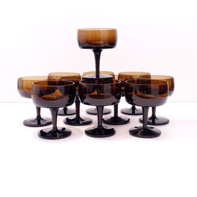 GORHAM-REIZART-blown-1960s-brown-german-stemware-9