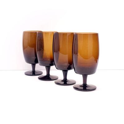 GORHAM-REIZART-blown-1960s-brown-german-stemware-7A