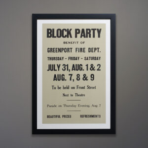 Trio of North Fork Posters Black Frames Block Party