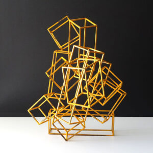 cubist-geometric-yellow-enameled-metal-sculpture