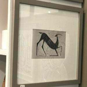 Henry Newman Horse Deer Woodcuts-gray-frame