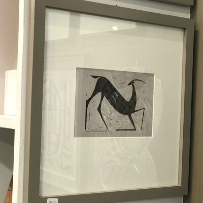 Henry Newman Horse Deer Woodcuts-gray-frame