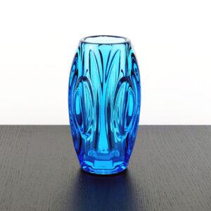 Sklo Rosice Czech Blue Lens Vase-1