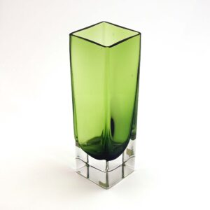 Aseda Glasbruk Bright Green Square Vase
