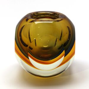 Amber Murano Sommerso Round Faceted Vase
