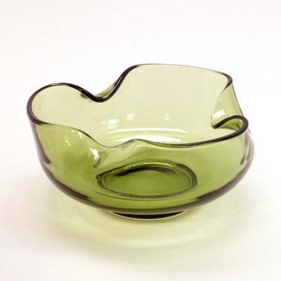 Olive Green Handkerchief Glass Dish