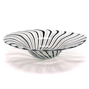 Murano Style Black White Striped Swirl Bowl Centerpiece