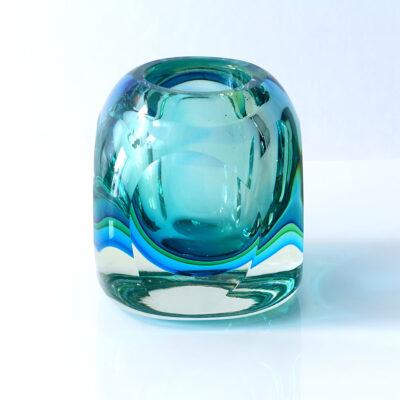 Murano Blue Green Orb Block Vase