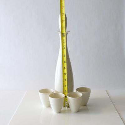 Tall Lietzke Porcelain Decanter Four Cups Set-2
