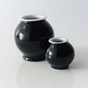 Carlo Moretti Black Cased Glass Orb Vases (pair)
