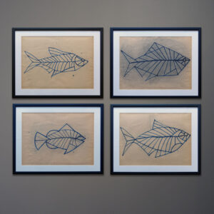 four-kubach-fish-original-drawings-black-frames