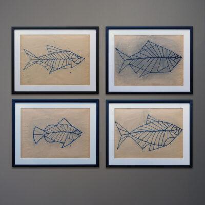 four-kubach-fish-original-drawings-black-frames