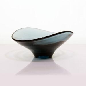 8-331 Holmegaard Style Blue Gray Glass Asymmetrical Dish